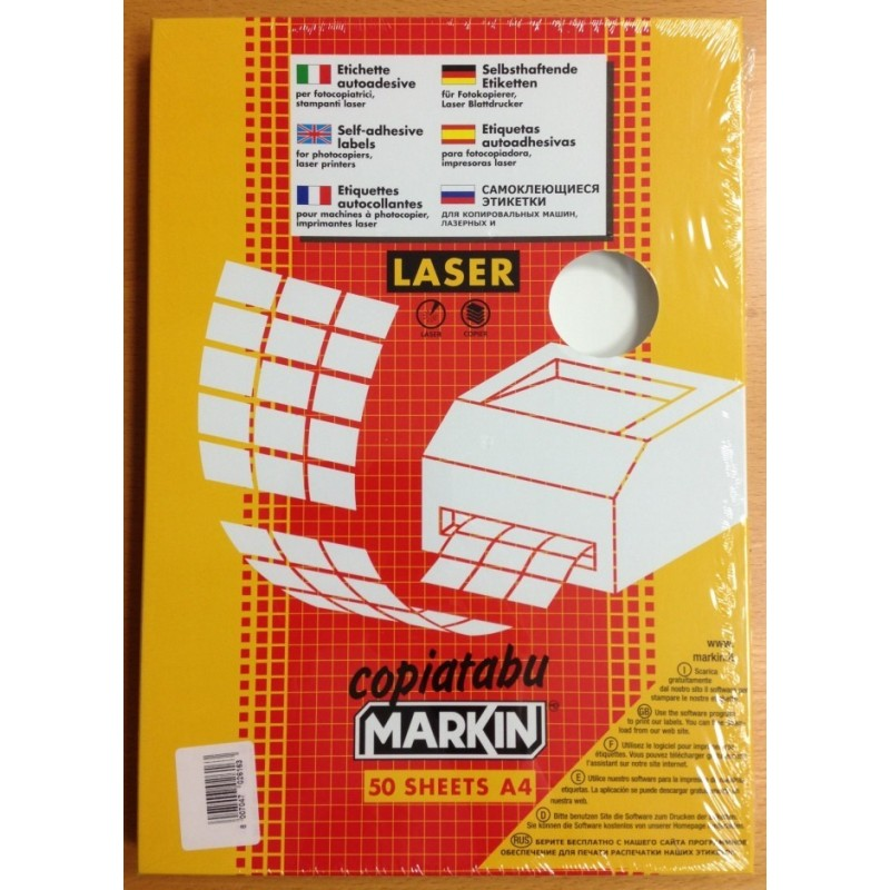 Etichette adesive f.to A4 in plastica per Laser 14 per foglio